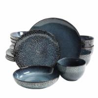 Gibson 120831.16 Matisse Double Bowl Dinnerware Set, Cobalt - 16 Piece