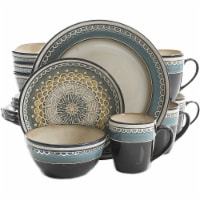 Gibson Elite 16 Piece Reactive Glaze Dinnerware Set Plates, Bowls, & Mugs, Teal