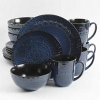 Gibson Elite Milanto Durable Stoneware Glazed 16 Piece Dinnerware Set, Blue