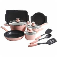 Oster 12 Piece Aluminum Non Stick Home Frying Pot & Pan Cookware Set, Dusty Rose - 1 Unit