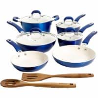 Kenmore Arlington 12 Piece Nonstick Ceramic Cookware and Accessory Set, Blue