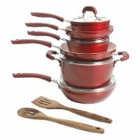 Kenmore Arlington 12 Piece Aluminum Non Stick Frying Pot & Pan Cookware Set, Red - 1 Unit
