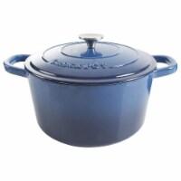 Crock-Pot 7 Quart Round Enamel Cast Iron Covered Dutch Oven Slow Cooker, Blue - 1 Unit