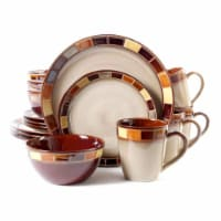 Gibson Elite Casa Estebana 16 Piece Dinnerware Plates, Bowls, & Mugs Set, Cream - 1 Unit