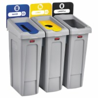 Rubbermaid Commercial Slim Jim Recycling Station - Black, Blue, Yellow - 1 Each - 1