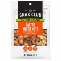 Century Snacks Snak Club Salted Mixed Nuts, 4 Ounce Bag -- 6 per case. - 6-4 OUNCE