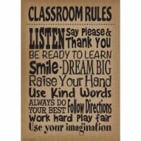 Burlap Design Classroom Rules Positive Poster - 1