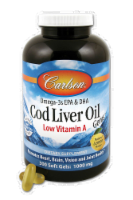 Carlson Cod Liver Oil Low A 1000 mg Softgels