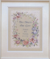 Dimensions Stamped Cross Stitch Kit 11 X14 -Two Hearts Wedding Record - 1