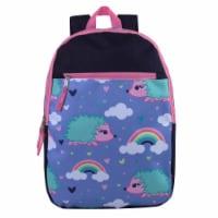 A.D. Sutton Hedgehog Print Front Zipper Backpack - Dark Denim/Princess Pink