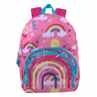 A.D. Sutton Rainbow Panda Tinted Clear Pocket Backpack - Dusk/Knockout Pink