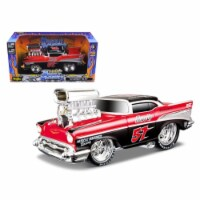 1957 Chevrolet Bel Air \Muscle Machines\ Red/Black 1/24 Diecast Model Car by Maisto - 1