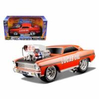 1966 1967 Chevrolet Nova \Muscle Machines\Lucas Oil Orange Model Car - 1
