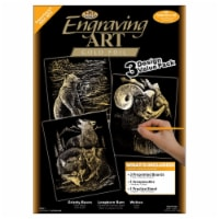 Foil Engraving Art Kit Value Pack 8.75 X11.5 -Gold - Grizzly Bears, Rams & Wolves - 1