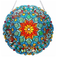 "CH1P148MB21-GPN CHLOE Lighting BLOSSOM Tiffany-glass Round Window Panel 21"" Wide"