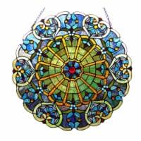 "CH1P145VB23-GPN CHLOE Lighting WILLA Tiffany-glass Victorian Window Panel 23"""