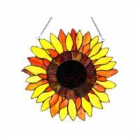 "CH1P059YF16-GPN CHLOE Lighting SUNNYVILLE Tiffany-glass Sunflower Window Panel 16"""