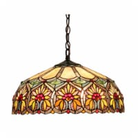 """CH33453BF18-DH2 CHLOE Lighting SUNNY Tiffany-style 2 Light Floral Ceiling Pendant Fixture 18"""""""
