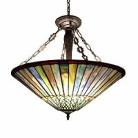 "CH35002BG25-UH3 GRACE Tiffany-style Geometric 3 Light Inverted Ceiling Pendant Fixture 22"""