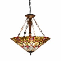 CH33444GV24-UH3 CASSANDRA Tiffany-style 3 Light Victorian Inverted Ceiling Pendant Fixture