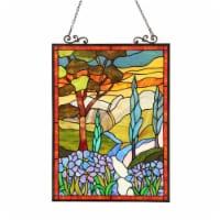 CH3P440YF24-GPN CHLOE Lighting ALMOS Tiffany-glass Floral Window Panel 18X24