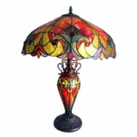 """CH18780VR18-DT3 LIAISON Tiffany-style 3 Light Victorian Double Lit Table Lamp 18"""" Shade"""