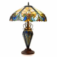 """CH18780VA18-DT3 LIAISON Tiffany-style 3 Light Victorian Double Lit Table Lamp 18"""" Shade"""