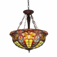 """CH36475RV22-UH3 LORI Tiffany-style 3 Light Victorian Inverted Ceiling Pendant Fixture 22"""""""