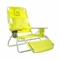 Ostrich Deluxe Padded 3-N-1 Outdoor Lounge Reclining Beach Chair, Lime Green - 1 Unit