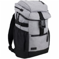 Fuel Barrier Top-Loading Backpack w/ Insulated Zip-Cooler Flap Pocket - Light Grey Chambray