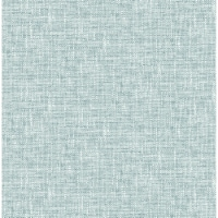 NuWallpaper NU2919 Aqua Poplin Texture Peel & Stick Wallpaper - 1
