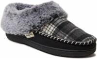 Dearfoams Women's Plaid Moccasin Clog Slippers - Black/Gray