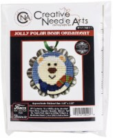 Colonial Needle Counted Cross Stitch Kit 2.25 X2.25 -Jolly Polar Bear Tart Tin (18 Count) - 1