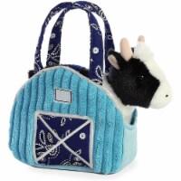 """Aurora 7"""" Aqua Blue Barn Pet Carrier Plush Toy,  Fancy Pals Cow"""