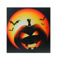 Northlight 32275400 LED Lighted Bats & Jack-O-Lantern Halloween Canvas Wall Art - 19.75 x 19.