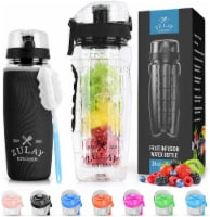 Portable Water Bottle with Fruit Infuser for Healthy & Delicious Hydration - Onyx Black