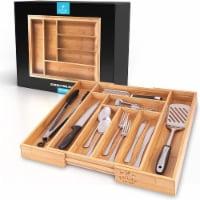 Zulay Kitchen Expandable Bamboo Kitchen Drawer Organizer - 18 x 13 x 19