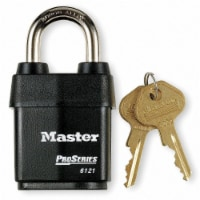 Master Lock Keyed Padlock, 7/8 in,Rectangle,Black HAWA 6121KA-10G100