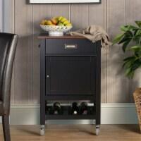 Design Mode KIT-CA-BLWOZ1 Wood Kitchen Island Cart with Natural Wood Top, Black