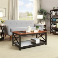 Convenience Concepts Oxford Coffee Table in Cherry and Black Wood Finish - 1
