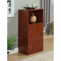 Convenience Concepts Xtra Storage Two-Door Bookcase in Cherry Wood Finish - 1