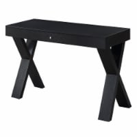 Convenience Concepts Newport Desk with Drawer in Black Wood FInish - 1