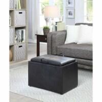 Convenience Concepts Designs4Comfort Storage Ottoman in Black Faux Leather - 1