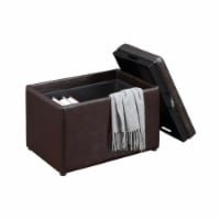 Designs4Comfort Accent Storage Ottoman in Espresso Faux Leather With Tray - 1