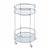 Convenience Concepts 134058GLCRO Royal Crest Bar Cart with Wheel, Clear Glass & Chrome Frame