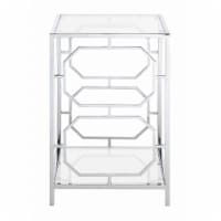 Convenience Concepts Omega Chrome End Table in Clear Glass with Chrome Frame - 1