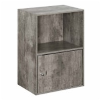 Convenience Concepts Xtra Storage 1 Door Cabinet in Gray Faux Birch Wood Finish - 1