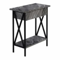 Tucson Flip Top End Table with Charging Station in Faux Gray Marble Wood & Black - 1