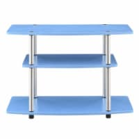 Designs2Go Three-Tier 32  TV Stand in Blue Wood and Stainless Steel Frame - 1