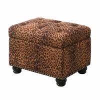 Designs4Comfort 5th Avenue Storage Ottoman in Leopard Multi-Color Fabric - 1
